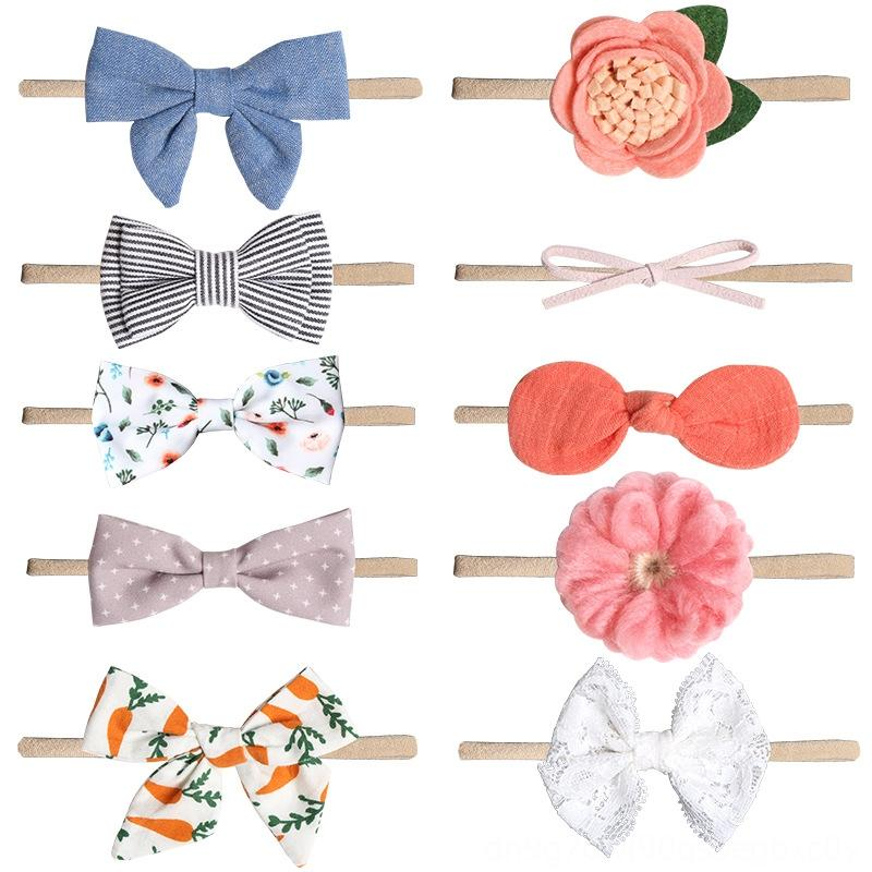 80915 baby printed bowknot butterfly band 10 children's hair accessories set imitation flower nylon small hair band