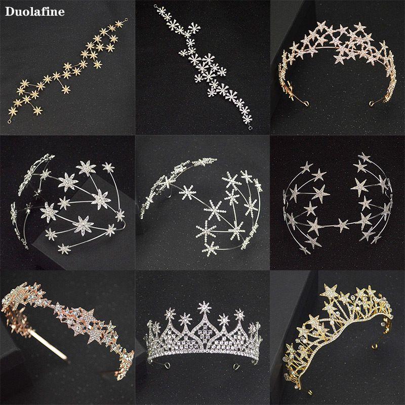 Duolafine más vendidos Rhinestone nupcial corona de la estrella de plata tiara de la boda del pelo de moda cristalino hecho a mano tocado de la venda