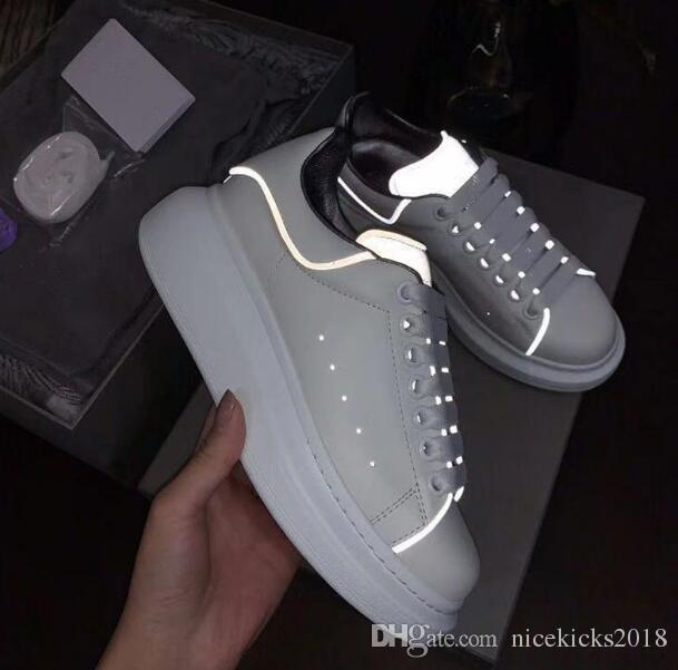 kutusu Shinny Floresan ışık Yansıtıcı 3M Beyaz Günlük Ayakkabılar Platformu Sneakers Erkek Kadın Deri Konfor Boş Bayanlar chaussures