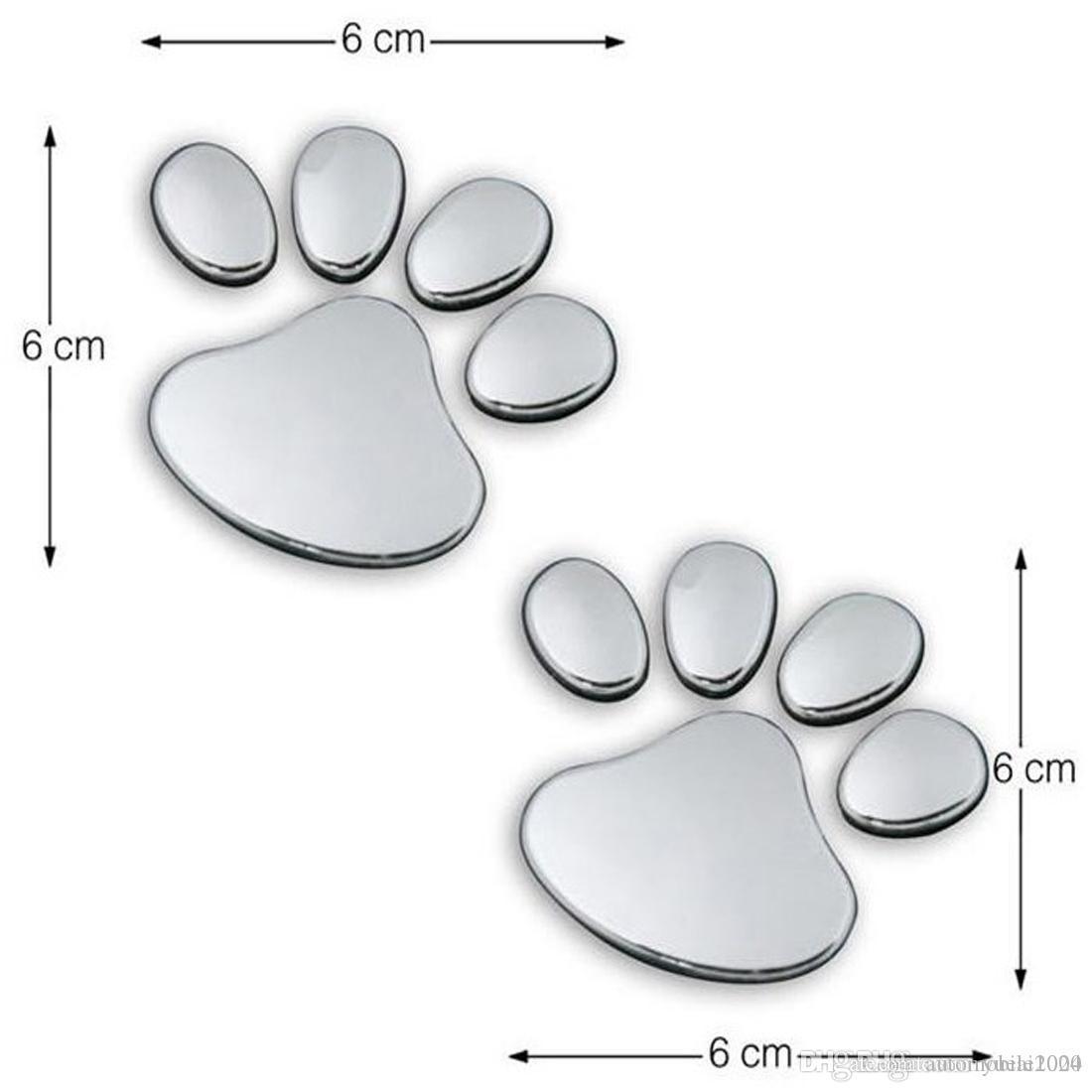 Une paire autocollant de voiture Conception fraîche Paw 3D animaux Chien Chat Bear Foot Prints empreinte 3M Decal Stickers voiture Argent Or