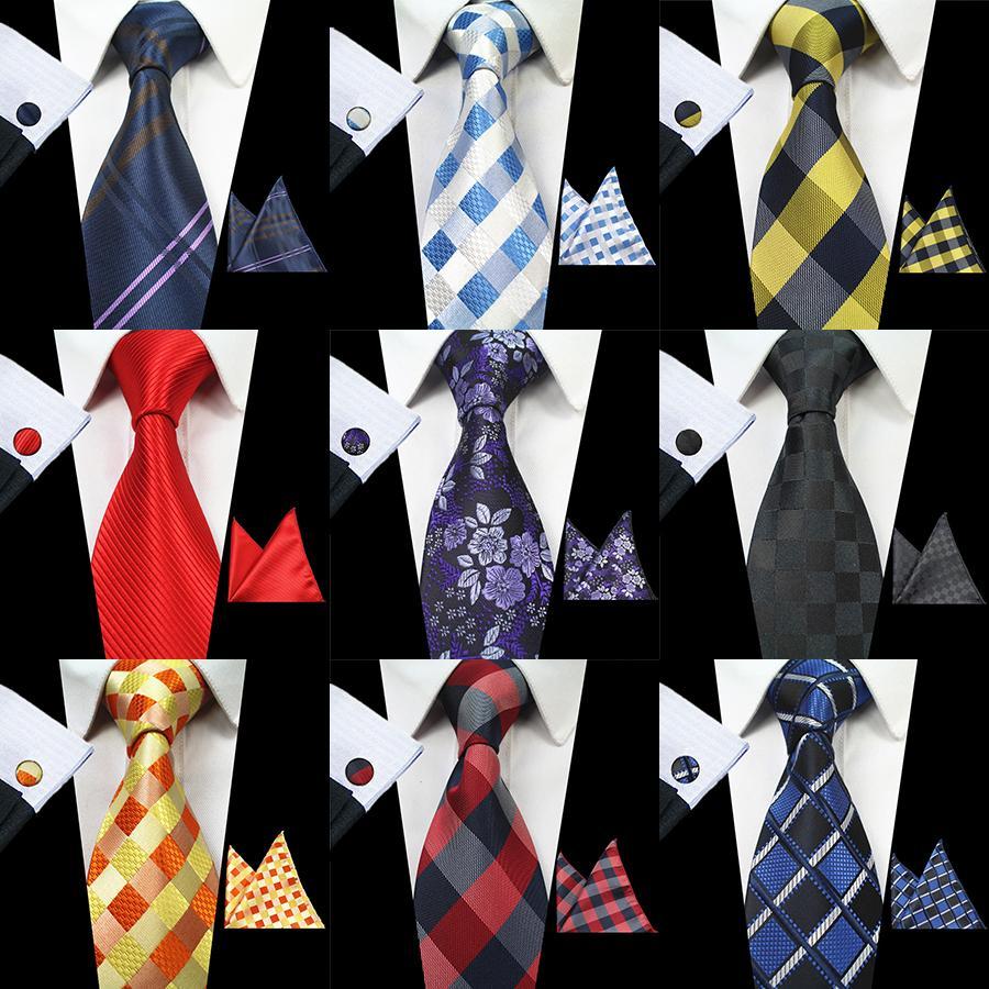RBOCOTT Classic 8cm Tie Set para hombres Jacquard de seda Corbatas a cuadros tejidas Pañuelo Gemelos Set Corbata de boda a rayas para hombre