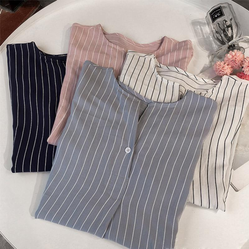 Striped Plus Size Women Shirts Elegant Seven-quarter Sleeves Buttons Shirt Female Spring Summer Fashion Office Lady Tops