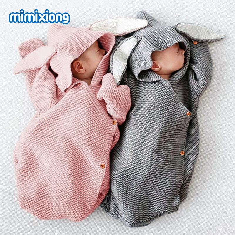 Adorable Rabbit Baby Stroller Sleeping Bag Spring Autumn Newborn Infant Knitted Swaddle Wrap Nest Envelopes For Toddler Kid 0-1Y