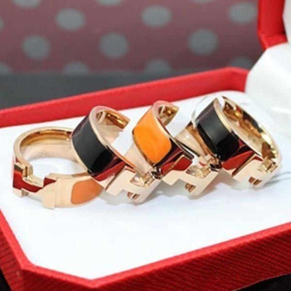Heißer Verkaufs-316L Titanstahl Mode-Ring mit Emaille vier Farben Frauen und ein Mann ursprüngliche Marke H Ring Schmuck
