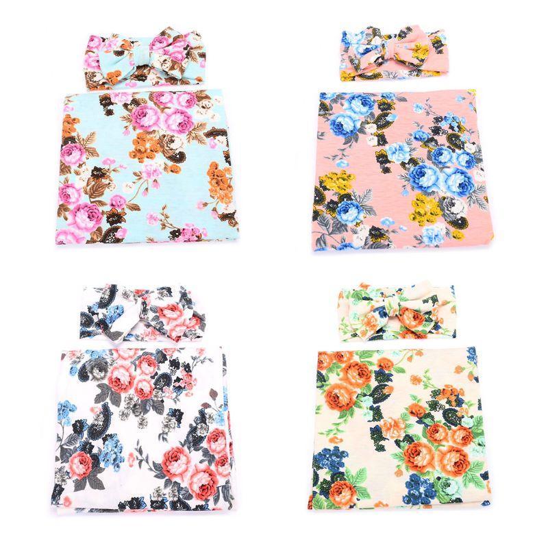 2pcs recién nacido floral manta impresa del Arco-nudo con banda de sujeción Set bebés toalla envuelta nuevas