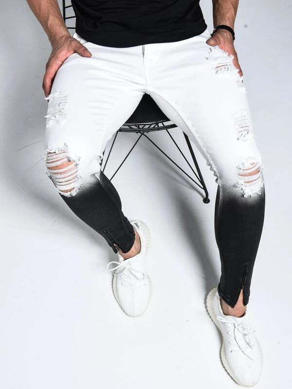 Erkek Jeans Moda 2020 İlkbahar Yaz Yeni Geliş Gradyan Stretch Jeans Pantolon Fermuar Tasarım Beyaz Siyah rahat pantolon S-3XL Sıcak