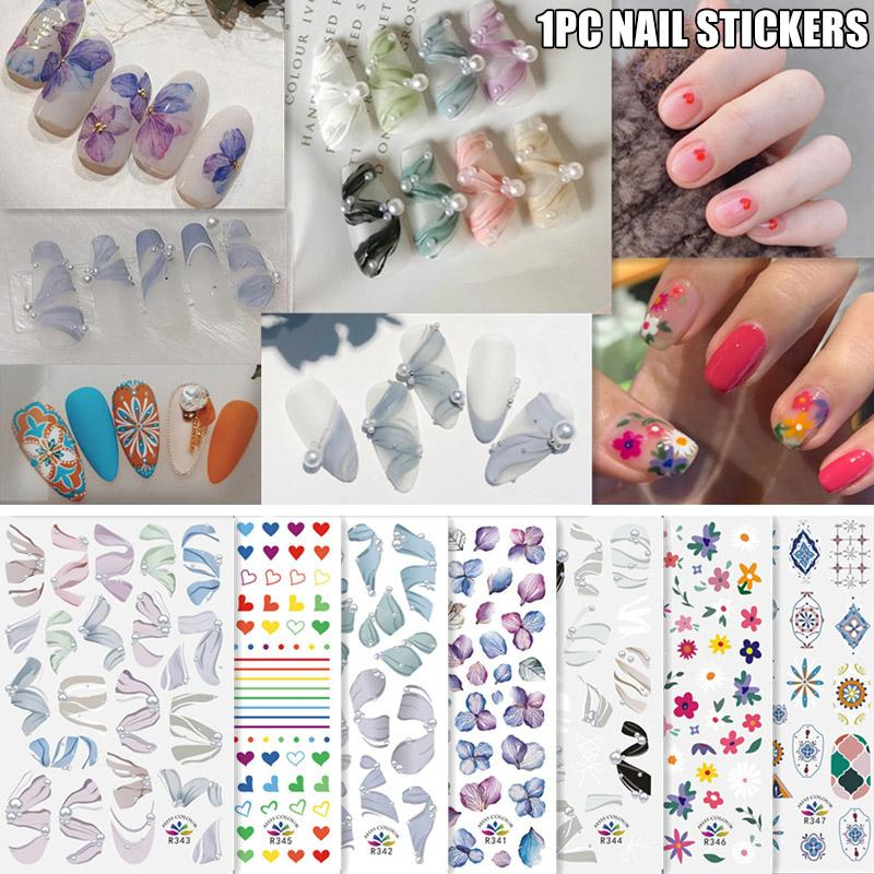 Nail Sticker French Style Nail Stickers Cute Morocco Adhesive Sticker Art Tool Manicure Accessories KG66