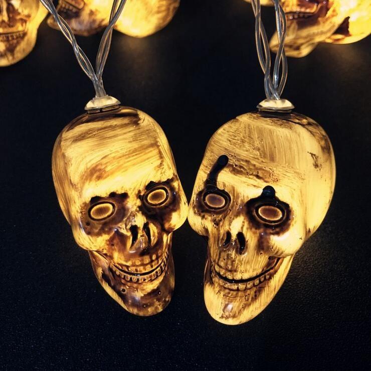Новый глава Череп Хэллоуин освещения череп скелета декоративные огни строки Призрачный Фестиваль LED огоньки