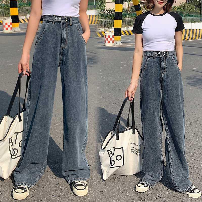 Женские джинсы женщины высокая талия одежда широкая нога джинсовая одежда синяя уличная одежда старинные качества 2021 мода хараджуку прямые брюки