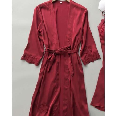 Sexy Frauen-Robe-Kleid-Sets Spitze Bademantel + Nachtkleid Nachtwäsche Frauen Sleep Kleidung Faux Silk Robe Femme Lingerie