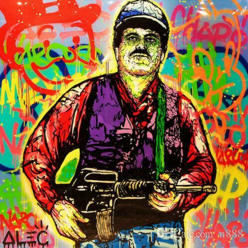 Alec Monopoly art Graffiti Narcos Pablo Escobar Mur Art Décoration intérieure Artisanats / HD Imprimer Peinture à l'huile sur toile Image 190919