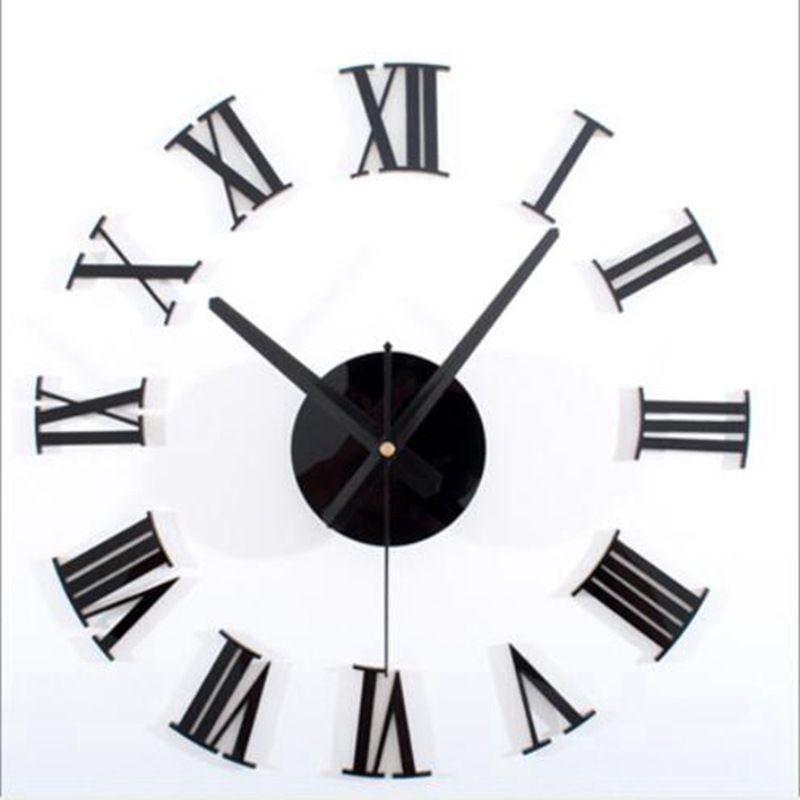 1PC Roman Digital Clock 3D DIY Большой Акриловое зеркало Часы настенные наклейки стены современной гостиной наклейки Домашнее украшение ZXX9210