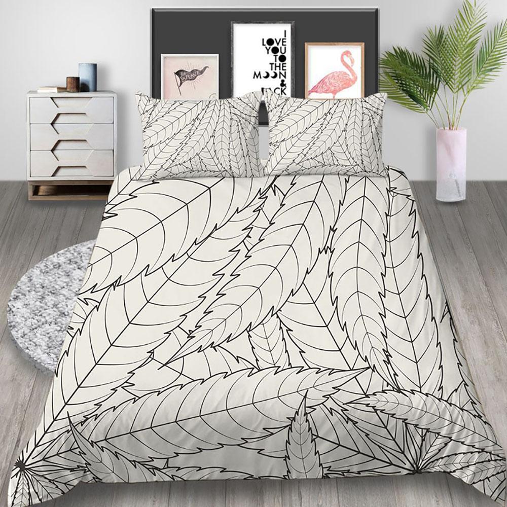 Hojas lecho simple artístico clásico de gama alta funda nórdica Rey Reina Individual Doble Doble completo suave cama cubierta con la funda de almohada