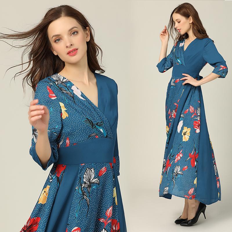 Robe Femmes Floral Maxi Fleur Imprimé 3/4 Robe manches longues vacances d'été Robe longue de vacances