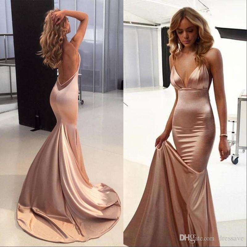 Elegante sexy Rose Gold Prom Party Kleider 2019 Spaghetti Backless Sweep Zug Backless Einfache Meerjungfrau Gelegenheit Red Teppich Abendkleider