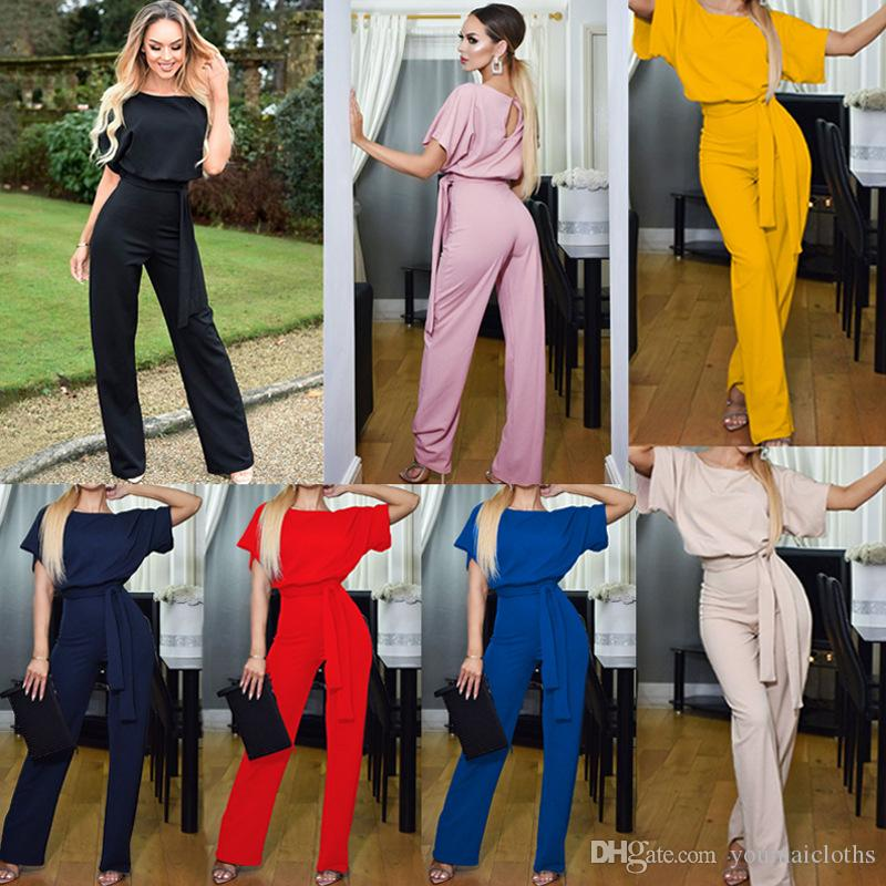 Short Sleeve O Neck Jumpsuits 2019 Summer Solid Casual Loose Overalls For Women Bandage Belt Long Rompers Mujer Big Size YMDRS209