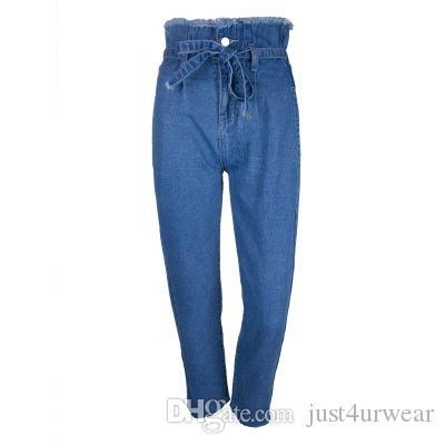 Women Ins Hot Sell High Waist Jeans Street Fashion Capris Skinny Pencil Pants Female Belt Jeans