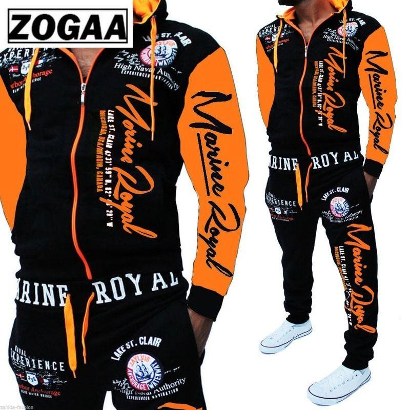 ZOGAA Hommes Survêtements Survêtements Veste À Capuche Survêtement Sports Combinaisons Nouveau Sportswear Jogger Hommes Ensembles Imprimé Survêtement Hommes Vêtements