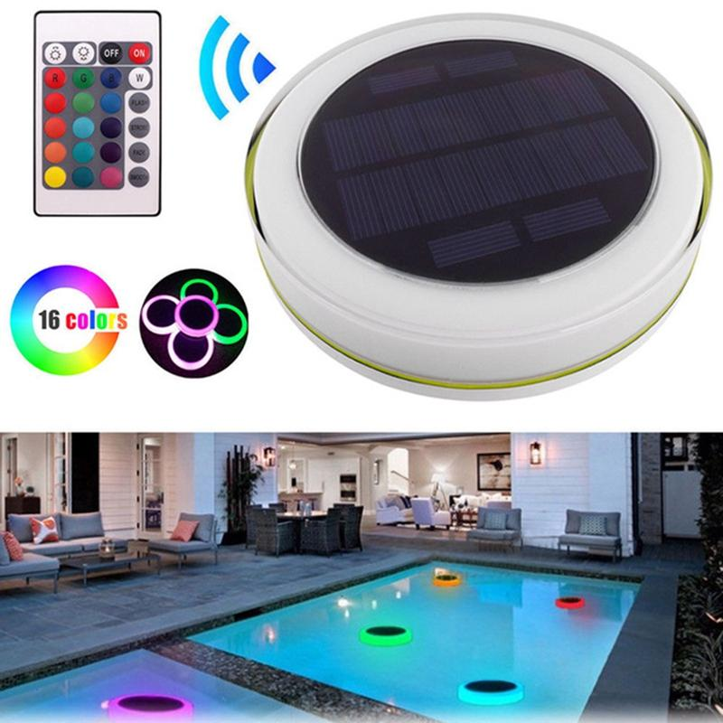Edison2011 Solar LED RGBW Swimming Pool Light Garden Party Bar Decoration 7 Color Changing IP68 Waterproof Pool Pond Floating Lamp
