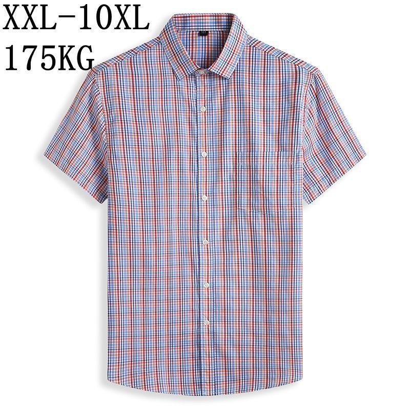 10XL 8XL 7XL Plaid Shirt Männer 2020 neue beiläufige 100% Baumwolle Kurzarm-Sommer-Männer Shirts camisa masculina Herrenhemden