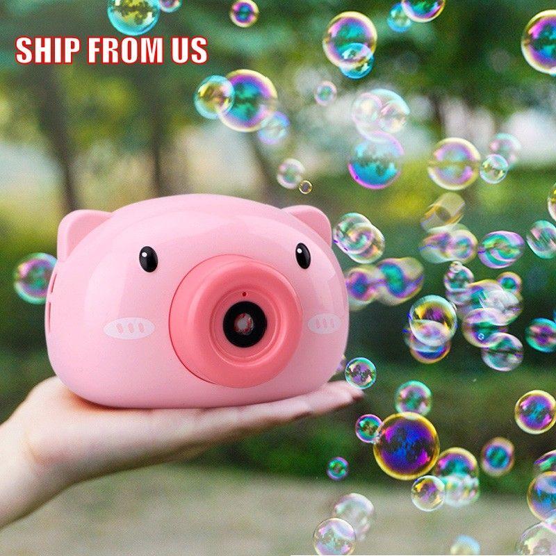 목욕 아이 장난감 파티 물건 FY409에 대한 거대한 거품 귀여운 만화 돼지 카메라 베이비 버블 머신 야외 자동 메이커 선물