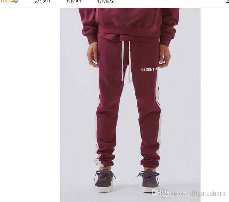 Nova Melhor Qualidade Medo De Deus Sweatpants Homens Mulheres Fundamentos de Algodão Casual Basculadores Cordão Hip Hop calças Sweatpants S-XL