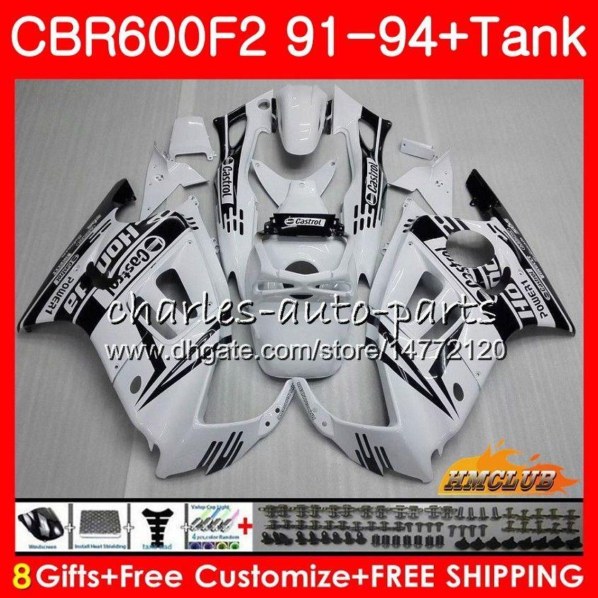 Body +Tank For HONDA CBR 600F2 CBR600FS CBR 600 FS F2 91 92 93 94 40HC.134 600CC CBR600 F2 glossy white CBR600F2 1991 1992 1993 1994 Fairing