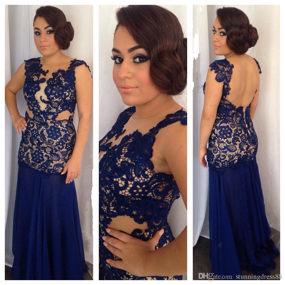 Moda Royal Blue Lace Trumpet Pageant Vestidos de fiesta 2021 gorra mangas cortas sin respaldo champagne satinado noche interior vestido de vestido formal