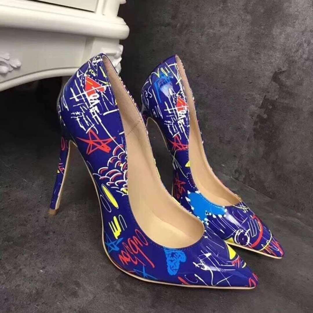 donne di lusso del progettista modo di alta qualità pompa scarpe tacco alto nero bianco blu di stampa Patent PU Leather Scarpe a punta pompe scarpa donne Dress