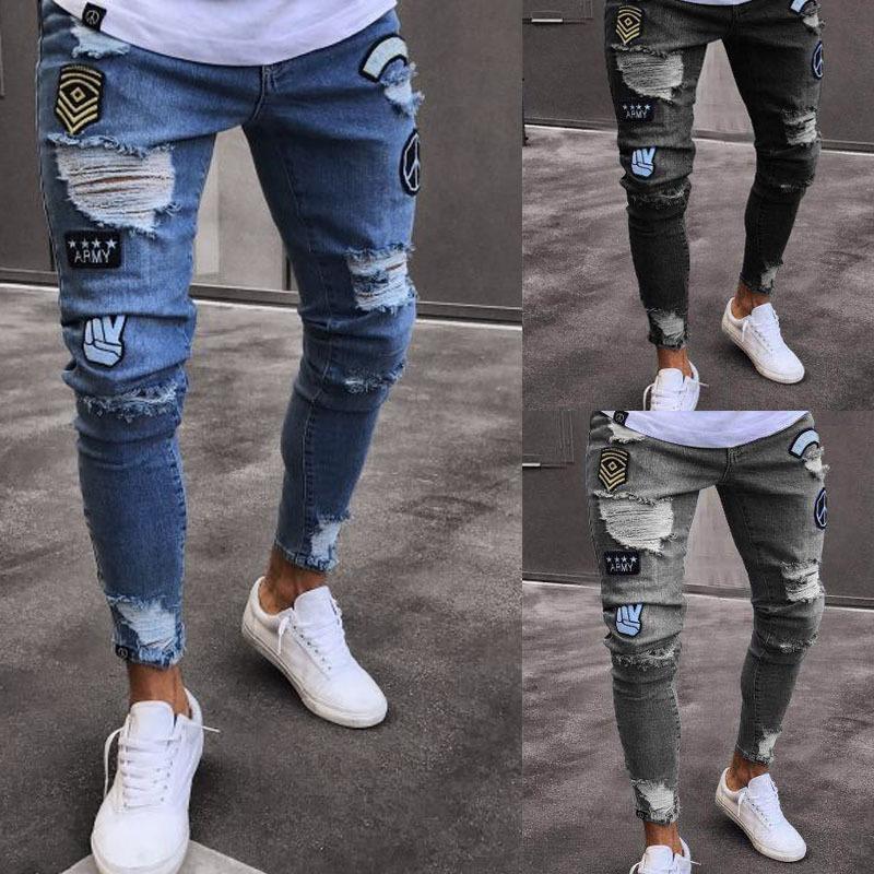 2019 Мужские стильные рваные джинсовые брюки байкер тонкие прямые хип-хоп потертые джинсовые брюки Новая мода узкие джинсы мужчины европейский размер Y19072301