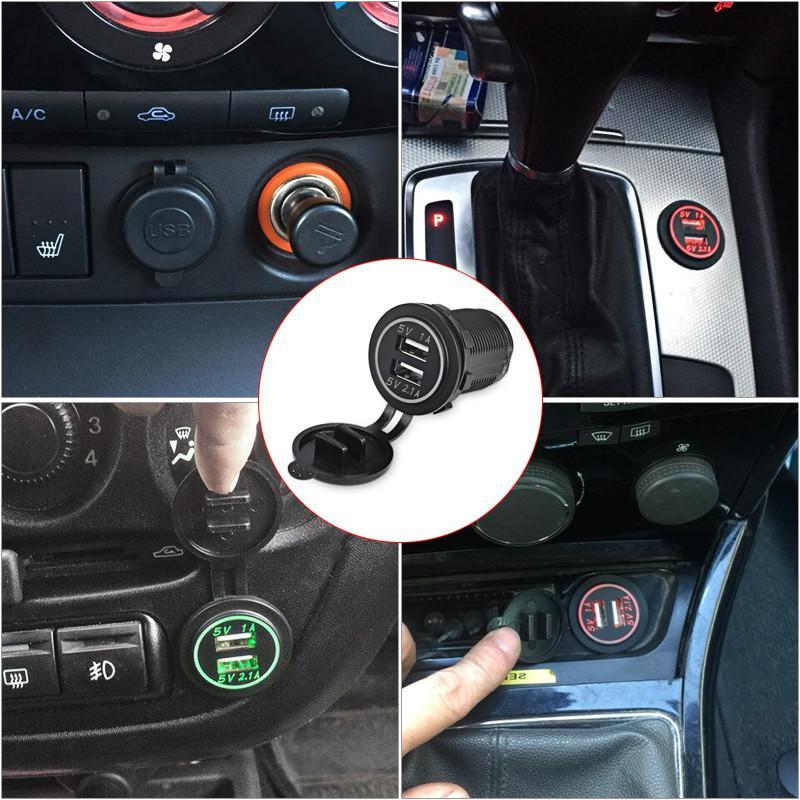 LED Digital Display Charging Socket Car Power Charger Cigarette Lighter Socket Splitter 2.1A/1A Dual USB Outlet 12V-24V