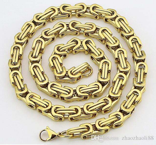 Men's 18K Gold Plated Hip hop Byzantine stainless steel necklace