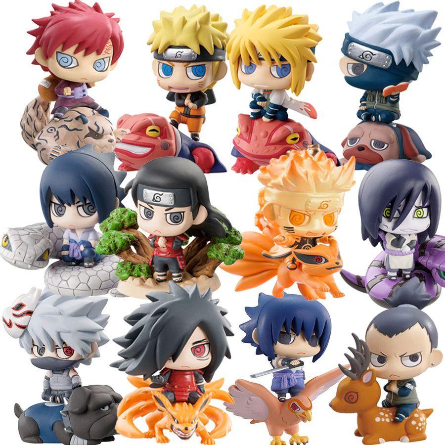 6pcs / set Naruto Action Figures Bambole Scacchi Nuovo PVC Anime Naruto Sasuke Gaara modello Miniature per la decorazione figura ETH0 MX200319