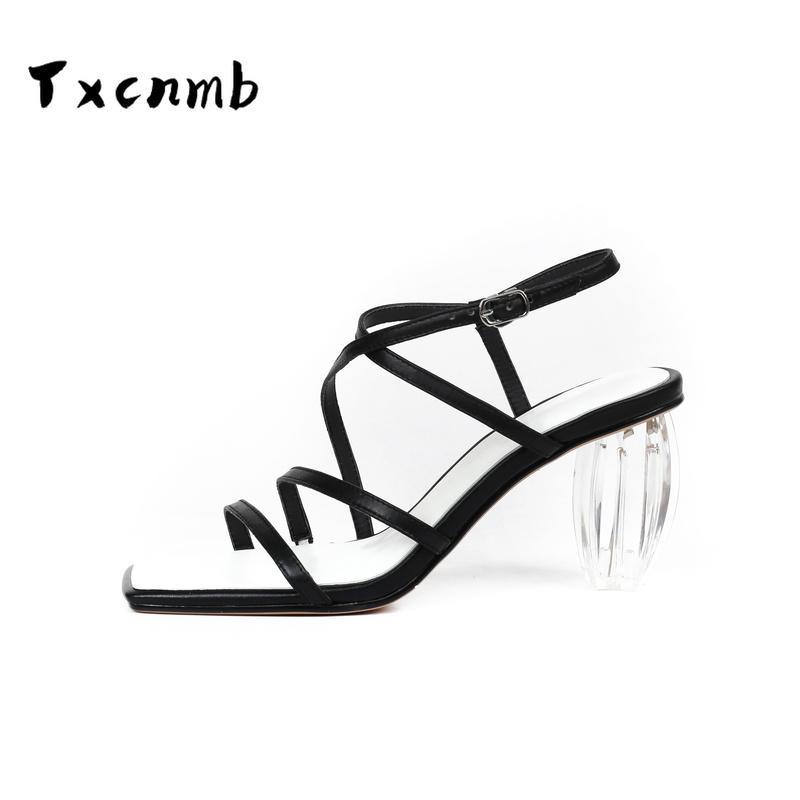 Сандалии TXCNMB мода сладкие густые HELS натуральная кожа для женщин классический дизайн Peep Toe насосы 2021 летняя обувь женщина