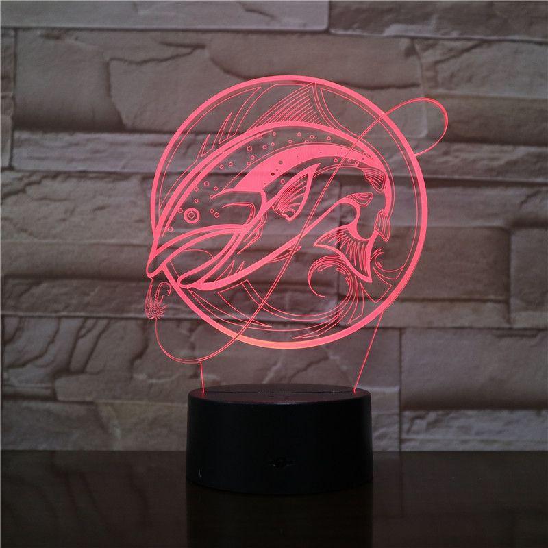 Big Fish Fishing 3D Optical LED Lamp Illusion Light Panel Gift Decoration Battery Bin DC 5V USB Powered Factory Wholesale