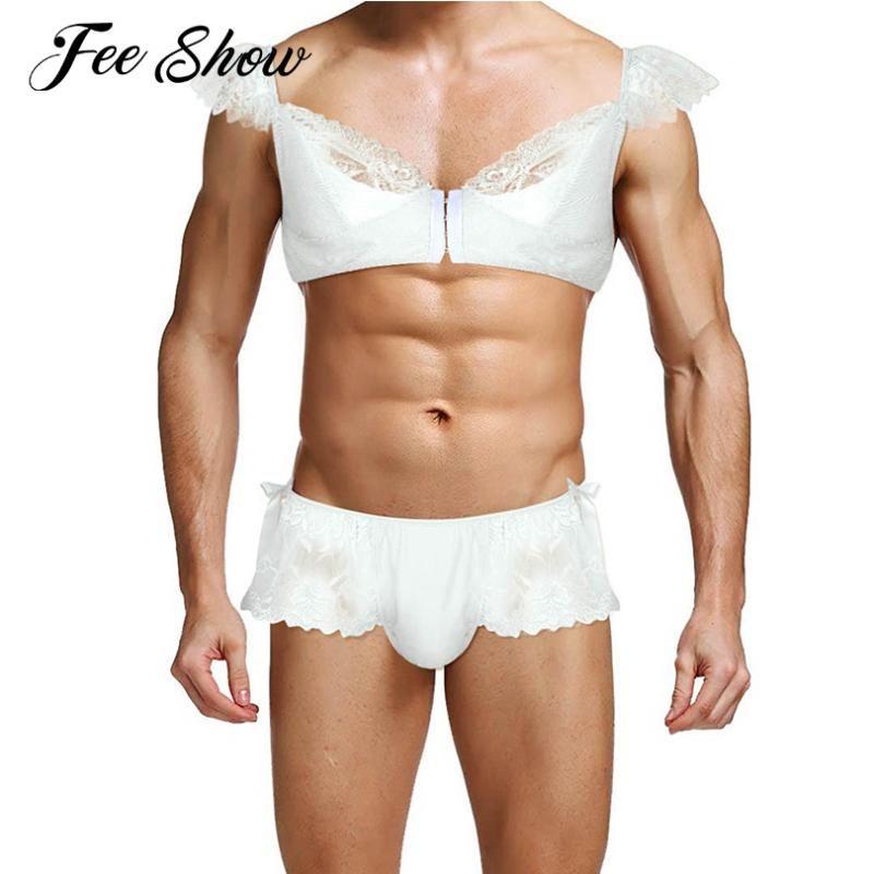 2шт гей мужские мягкие кружева Сисси сексуальное женское белье комплект нижнего белья эротическая одежда спагетти ремень Cap рукава бюстгальтер топ с бикини трусы