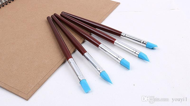 5pcs Nail Art Pen Brushes Soft Silicone Nail Art Craft Pottery Clay Pen Sculpting Polymer Modelling Shaper Nail Art DIY Tools
