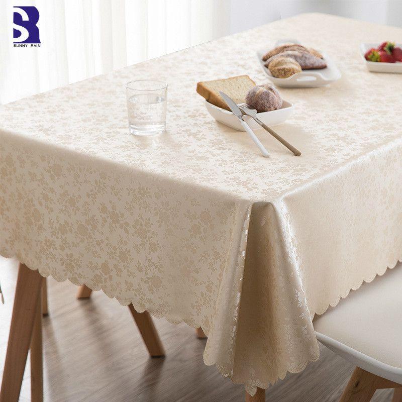 SunnyRain 1 قطعة PVC Oilproof مفرش المائدة للماء الجدول القماش لتناول الطعام الجدول مستطيل غطاء المائدة المستديرة مفارش المائدة Y200421