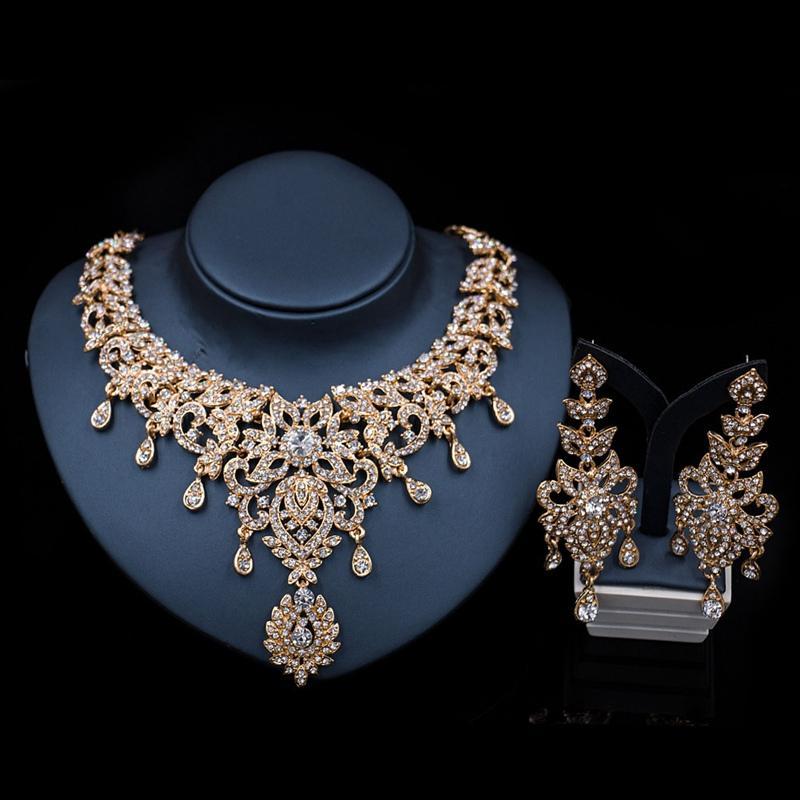 Blatt Afrikanischer Brautschmuck Sets für Frauen großen Kristall Opulente Halskette Ohrring-Sätze Hochzeit Schmuck