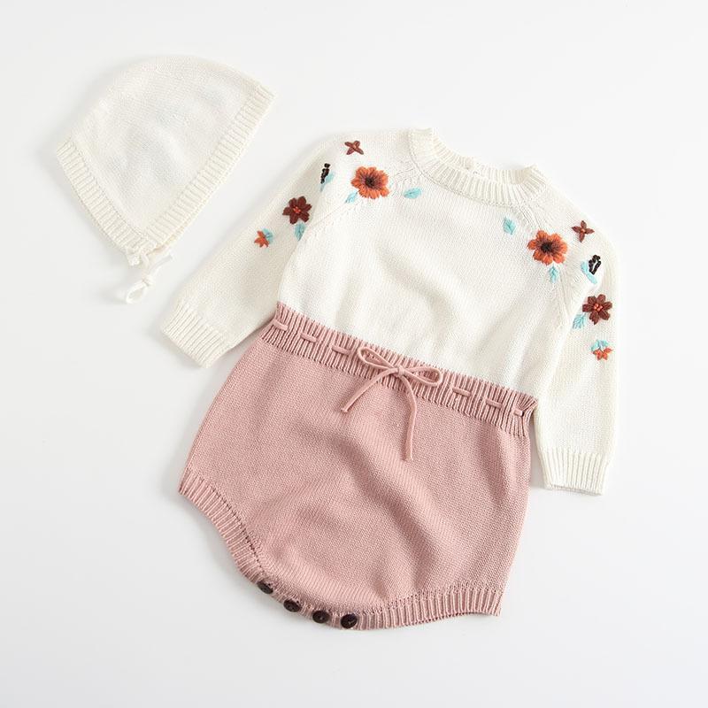 0-3Yrs Automne bébé tricotée Romper enfants manches longues broderie bébé Princesse barboteuses Jumpsuit + Cap Set Vêtements du nouveau-né