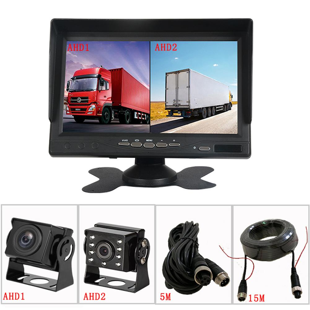 7 inch 2 Split AHD Front Rear View DVR Recording System Monitor HD Camera for VAN Truck RV With IR Remote Controller & Stand