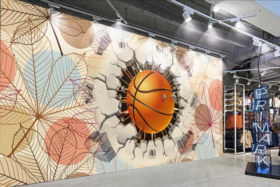 Hoja grande de baloncesto de encargo mural del papel pintado 3D Fondo creativo de la sala de TV Las imágenes de pared Arte Pintura centro comercial Wall Papers