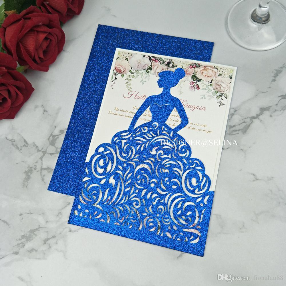 Blue Glitter Jackets Laser Cut Sweet 15 Quinceañera Invitaciones Girls Sweet 16 Formal Invite Princess Party Invitación