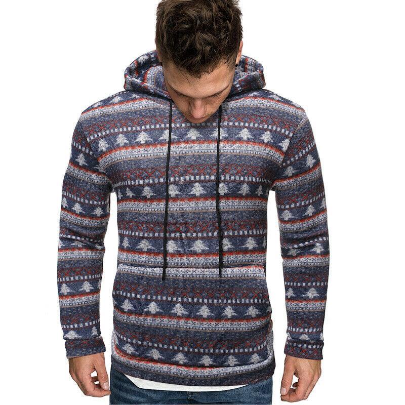 الرجال عيد الميلاد الدافئة حك الصوف البلوز مقنع البلوز معطف أبلى القمم طباعة سليم هوديس بلوزات