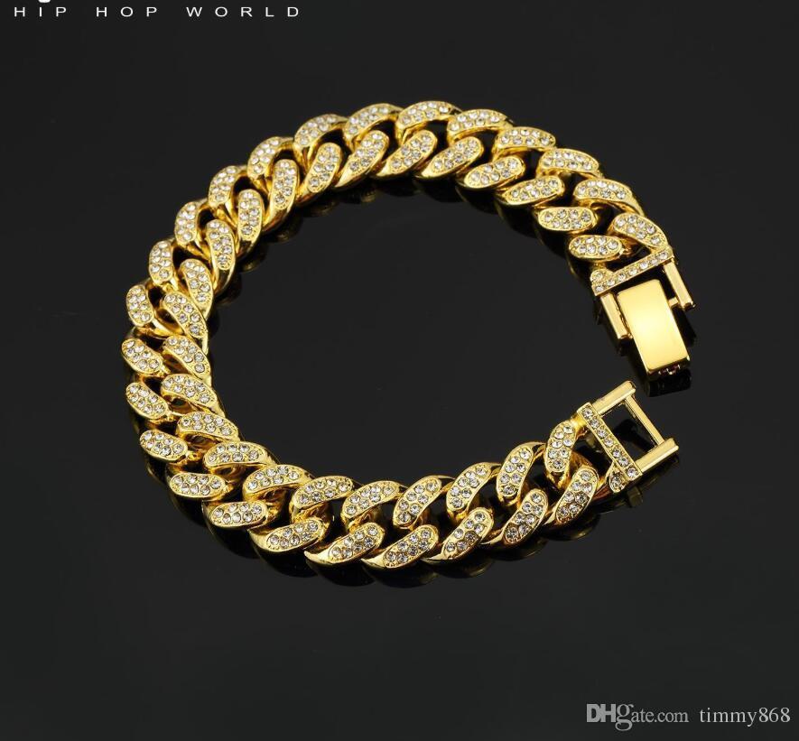 Bracciale Hip Hop Bracciale con pendente pieno di diamanti di alta qualità Micro Ciondolo in rame con zirconi cubici Diamond Miami Cuban