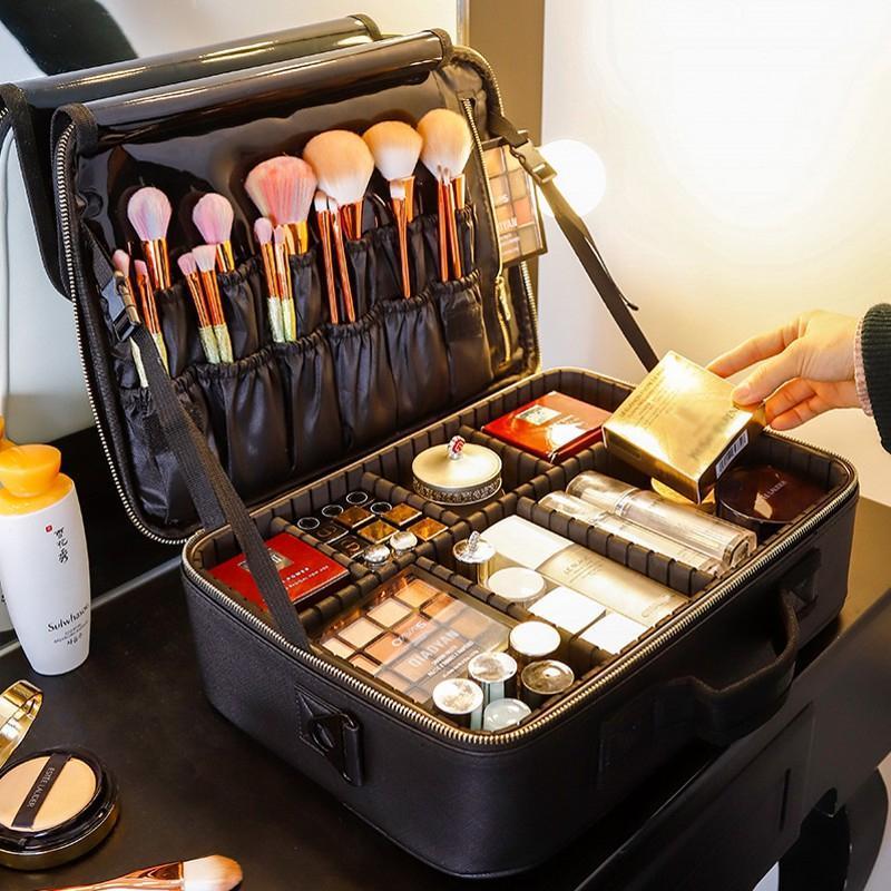 Atualizar Grande Capacidade Cosmetic Bag Professinal Mulheres Viagem compo a caixa de mão Cosméticos armazenamento caso de Higiene Pessoal Bag