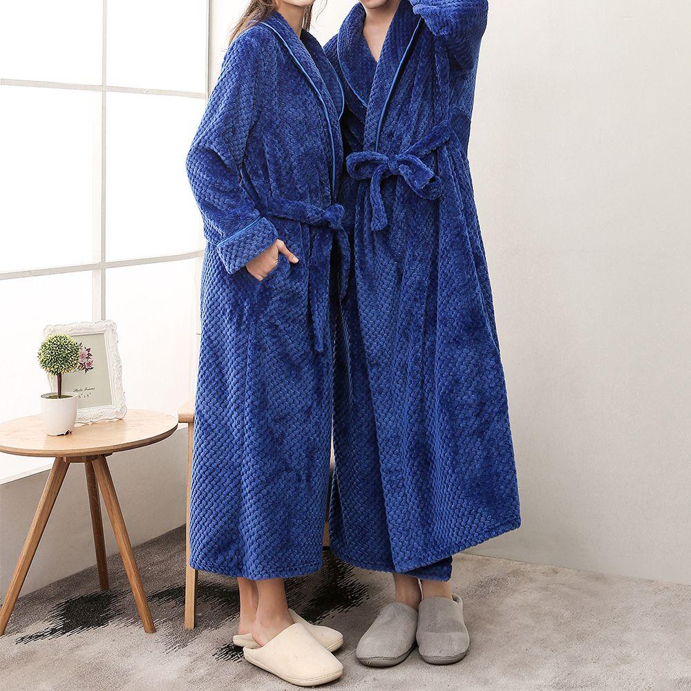Flannel Winter Lengthened Thermal Plush Shawl Bathrobe Sleepwear Long Sleeved Underwear Warme Kleding Coat Dressing Gown