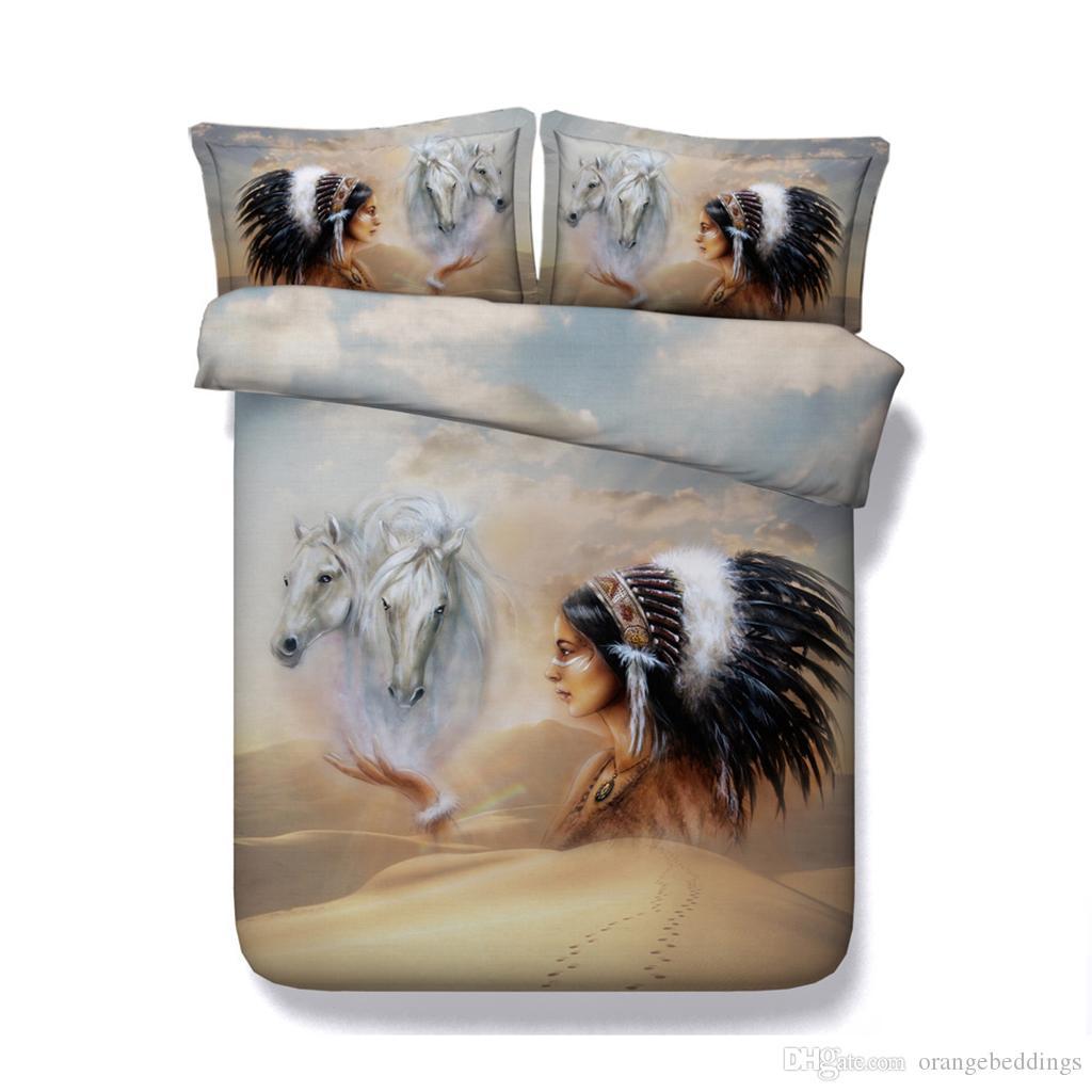 cama Cavalo Consolador Cover Set Algodão Microfibra cama conjunto de 3 peças Animais Cavalo impressos Duvet Cover Set Com 2 Pillow Shams