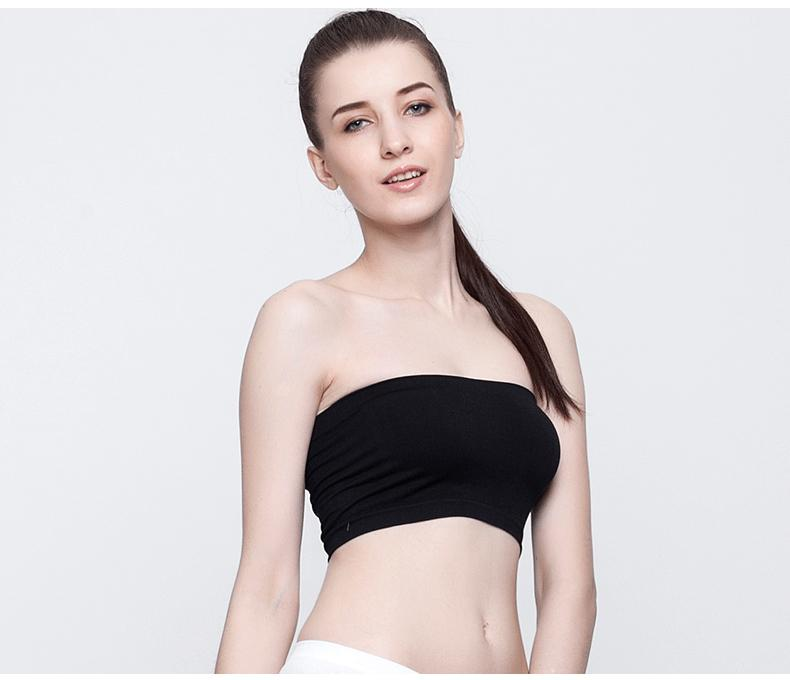 Frauen Wrap Brust Anti-Blend-Tube-Top-Primer Wildkoreanischer flacher Mund gewickelte Brust-Tube-Oberseite