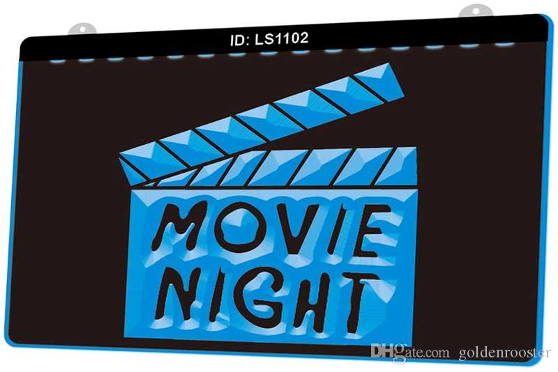 LS1102 Movie Night Film Kino Neue 3D EngravCustomize on Demand Multiple Color